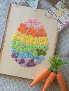 Rainbow button Easter Eggs - Easter Crafts for Kids