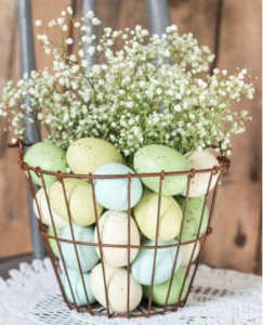 Eggs in a wire basket - Easter Decoration