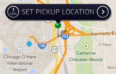 Uber set pickup location screen